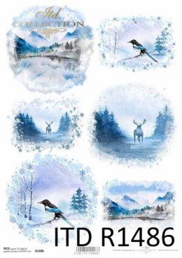 Rice paper - Christmas, winter views, mountains, deer, magpie