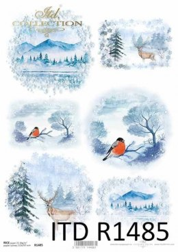 Rice paper - Christmas, winter views, mountains, fawns, birds