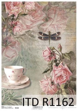 Rice power - Vintage, cup, roses, dragonfly