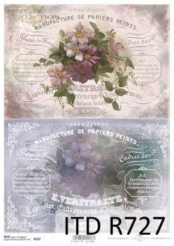 Rice paper -vintage, background, flowers, inscription