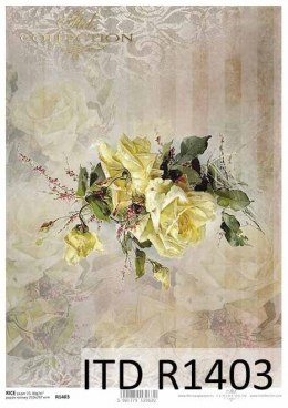 Rice paper - Vintage, flowers, yellow rose