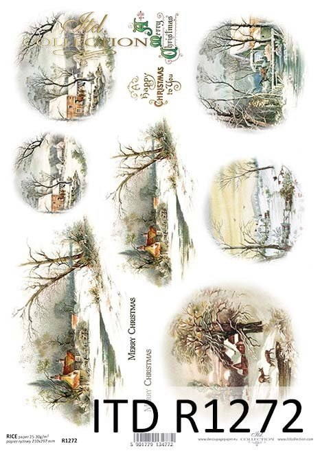 Rice paper - cottages, churches, winter visions