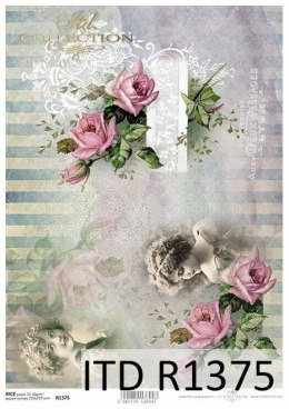 Rice paper -Vintage, roses, faces of girls, background
