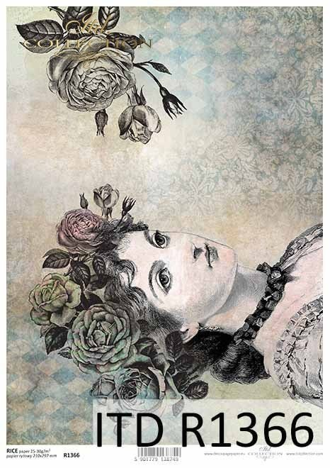 Rice paper vintage, woman's face, roses
