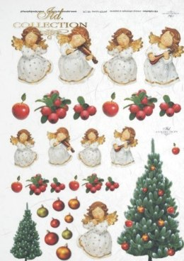 Rice paper - Christmas decorations, Christmas tree, angels