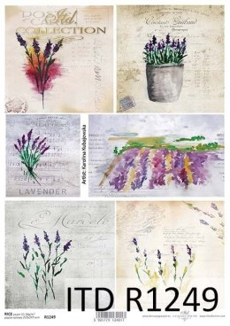 Rice paper - lavender, flowers