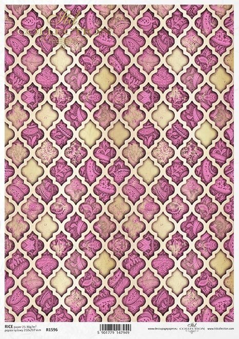 Rice paper Moroccan clover, oriental style, wallpaper pattern, carpet pattern, rosy colour and gold