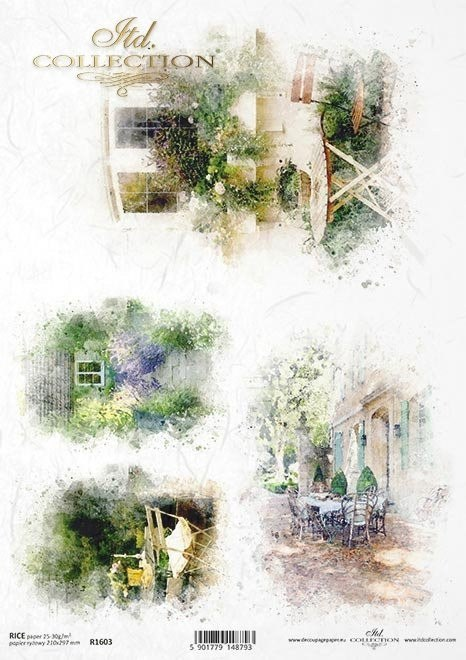 Rice paper- Watercolors, romantic cafes, house in flowers