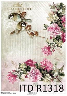 Rice paper - roses, birds