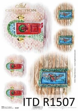 Rice paper - stylish wooden doors, windows with holiday decorations 2