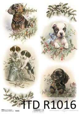 Rice paper - Christmas decorations, dogs
