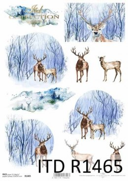 Rice paper - winter views, animals, deer, roe deer