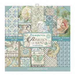STAMPERIA- 30x30cm AZULEJOS 10 pcs, SET OF PAPERS