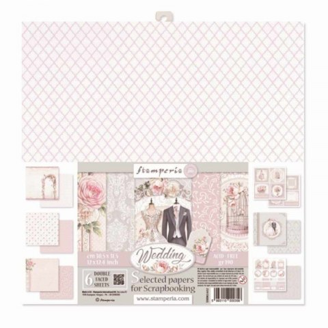 STAMPERIA-30x30cm 6pcs WEDDING, SET OF PAPERS