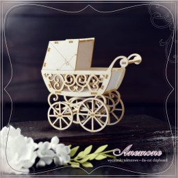 Laser cut chipboard 3d - exploding box - baby pram - Anemone