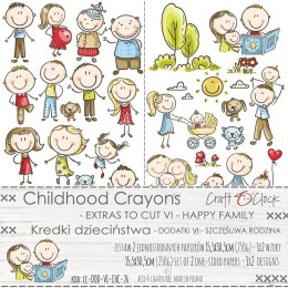 CHILDHOOD CRAYONS - VI - a set of extras to cut - HAPPY FAMILY