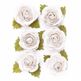 WATERCOLOR PAPER FOWERS, 6 PCS, WHITE