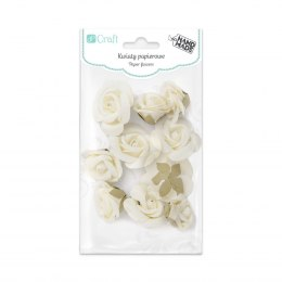 PAPER FLOWERS MIX, 10 PCS, ECRU