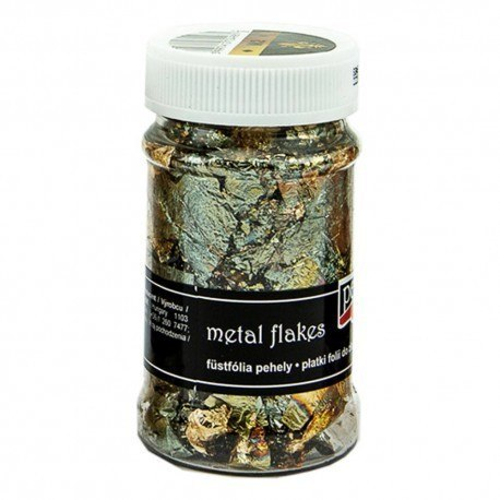 Metal flakes, gold and green, Pentart
