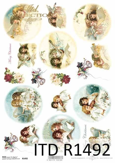 Rice paper - Christmas, Christmas motifs, Angels, motifs for Christmas balls