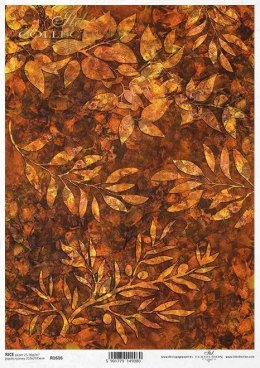 Rice paper - Leaves and twigs on the amber background
