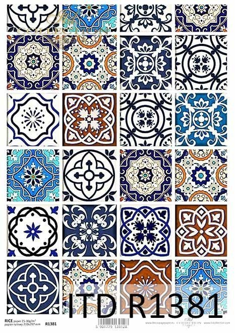 Rice paper - Vintage, colorful tiles