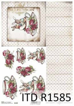 Rice paper - bunnies in a cup, boards, flowers, roses 1