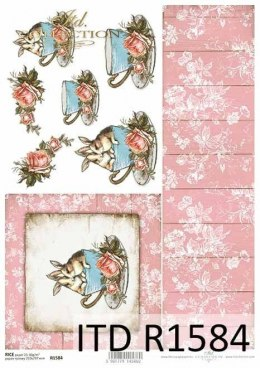 Rice paper - bunnies in a cup, boards, flowers, roses