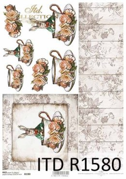 Rice paper - Easter, Vintage, hare in a coat, cup, boards, flowers, roses