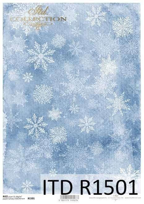 Rice paper - white snowflakes on a blue background A3