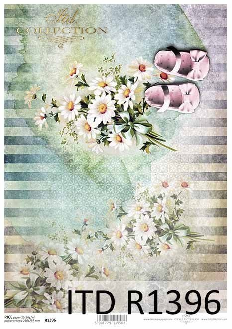 Rice paper - for a girl, shoes, flowers
