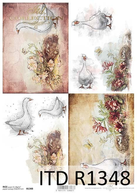 Rice paper - Easter, geese