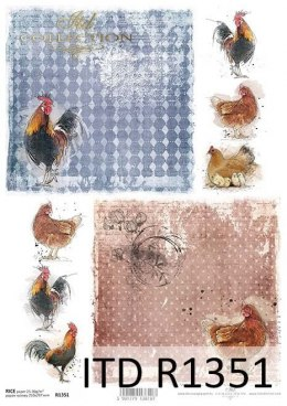 Rice paper - chickens, roosters