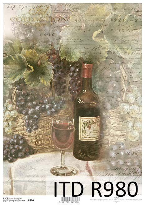 Rice paper - grapes, wine