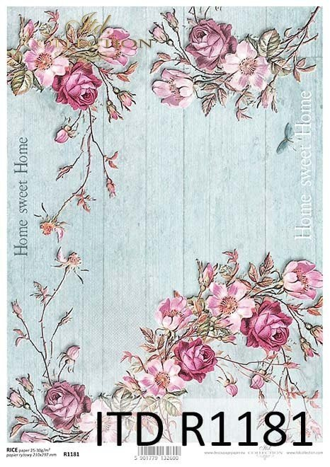 Rice paper - flowers, Home Sweet Home, twigs