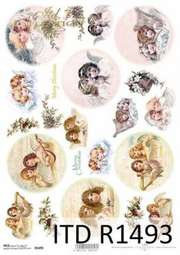 Rice paper - Christmas motifs, Angels, motifs for Christmas balls