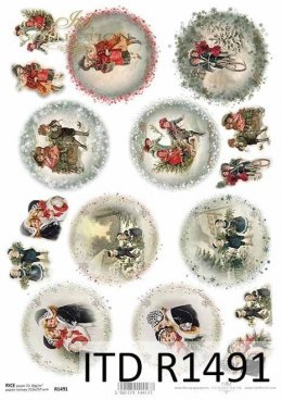 Rice paper - children, motifs for Christmas balls