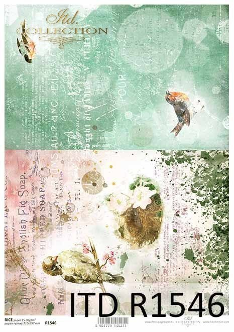 Rice paper - birds, Vintage, collage