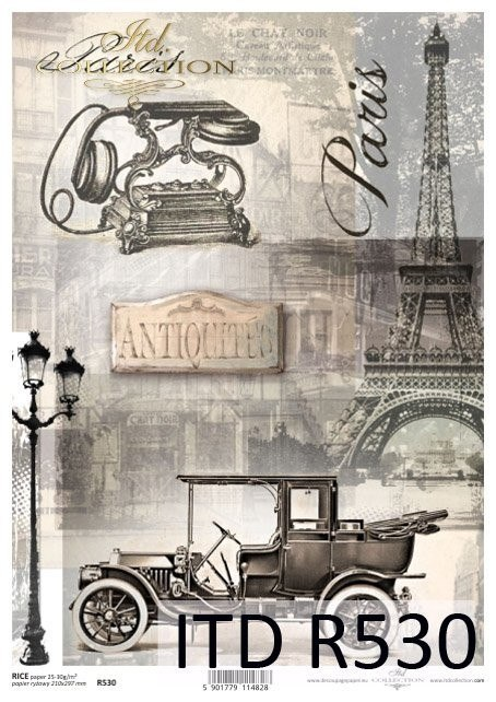 Rice paper - Paris, old telephon, automobile