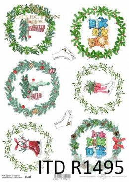 Rice paper - festive wreaths, motifs for baubles, teddy bears, skates
