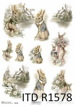 Rice paper - Vintage bunnies, spring rural vistas