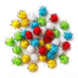 POLYESTER METALLIC POMPOMS XMAS MIX 2 CM, 40 PCS