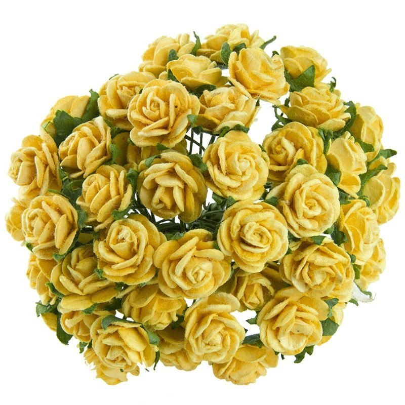 YELLOW MULBERRY PAPER OPEN ROSES 25 mm
