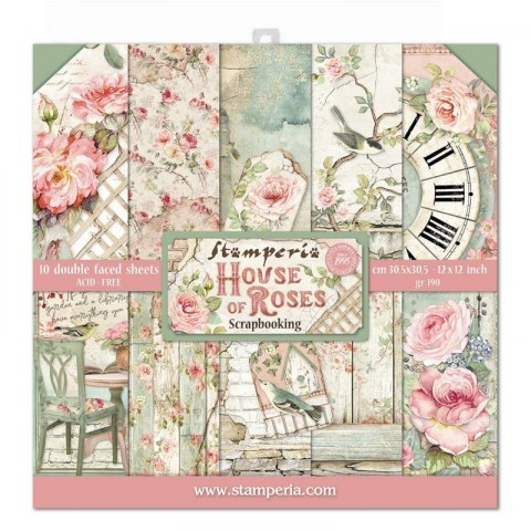 STAMPERIA- 30x30cm, HOUSE OF ROSES ,10pcs