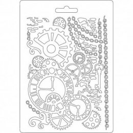 STAMPERIA -TEXTURE IMPRESSION - MODELLING MOULD 14,8X21 CM - CLOCK MECHANISM
