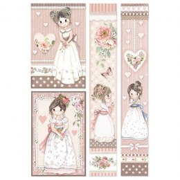 STAMPERIA RICE PAPER A4, 4 LITTLE GIRLS