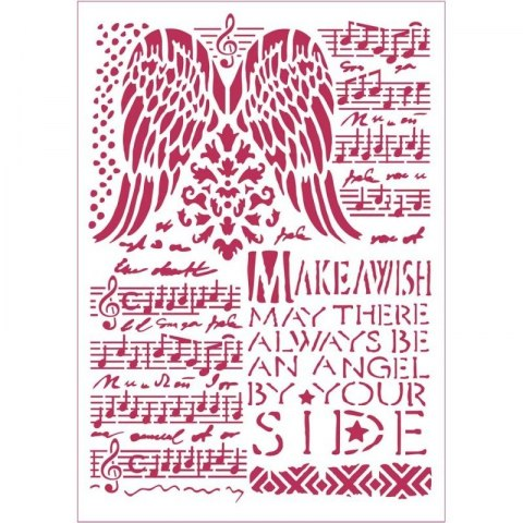 Stencil - MAKE A WISH - WINGS 21x29,7 cm