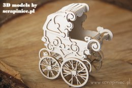 Laser cut chipboard 3D model - baby stroller - Scrapiniec