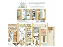 Junk book paper pad with elements for fussy cutting