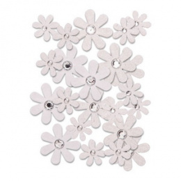 Scrapbooking flowers - white daisies - 50 pcs - Dp Craft